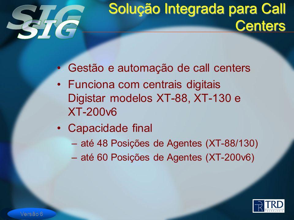 Gestão e automação de call centers Funciona com centrais digitais Digistar modelos XT-88, XT-130 e XT-200v6 Capacidade final –até 48 Posições de Agent