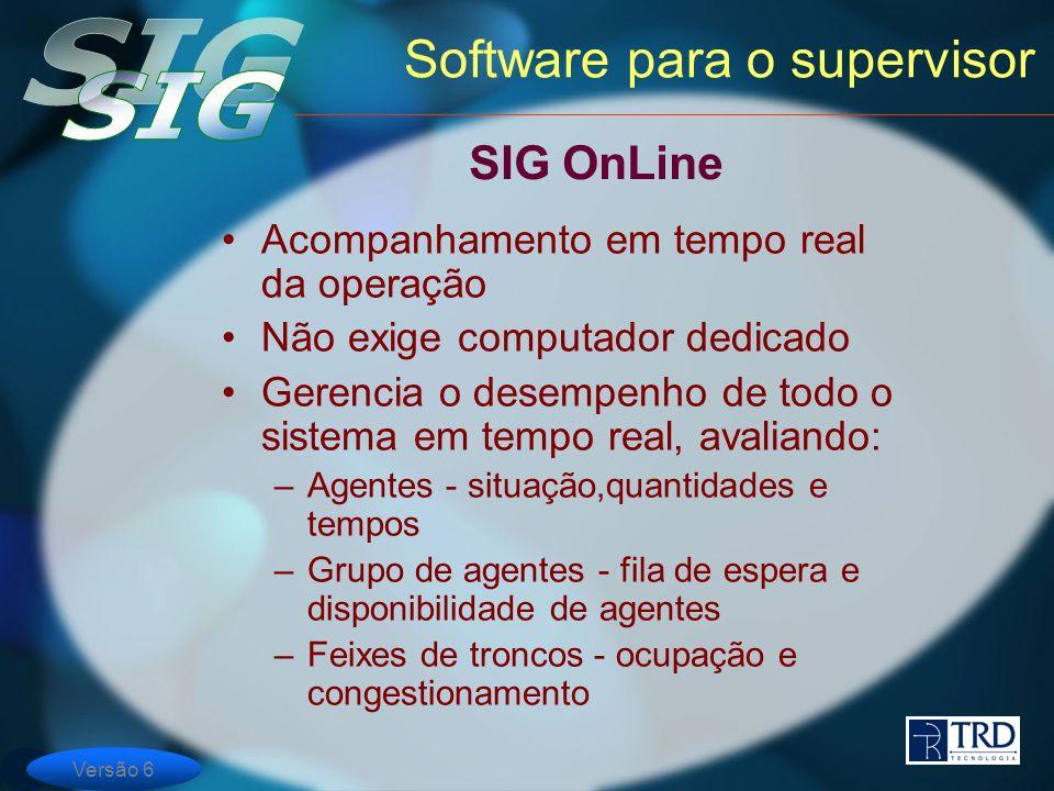 Versão 6 Software para o supervisor Acompanhamento em tempo real da operação Não exige computador dedicado Gerencia o desempenho de todo o sistema em