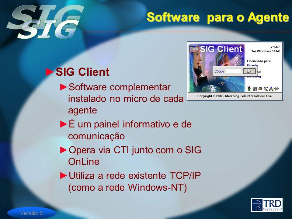 Versão 6 SIG Client Software complementar instalado no micro de cada agente É um painel informativo e de comunicação Opera via CTI junto com o SIG OnLine Utiliza a rede existente TCP/IP (como a rede Windows-NT) Software para o Agente