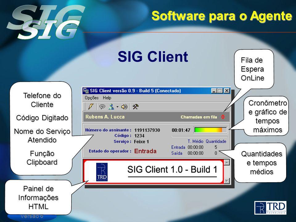 Versão 6 Software para o Agente SIG Client Quantidades e tempos médios Painel de Informações HTML Cronômetro e gráfico de tempos máximos Fila de Espera OnLine Telefone do Cliente Código Digitado Nome do Serviço Atendido Função Clipboard