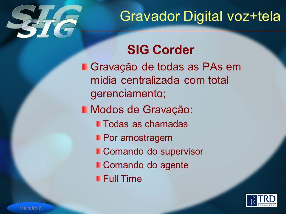 Versão 6 Gravador Digital voz+tela SIG Corder Gravação de todas as PAs em mídia centralizada com total gerenciamento; Modos de Gravação: Todas as cham
