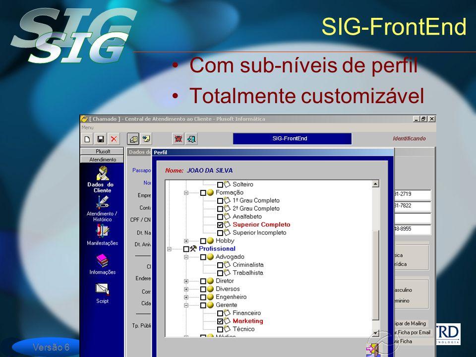 Versão 6 SIG-FrontEnd Com sub-níveis de perfil Totalmente customizável SIG-FrontEnd