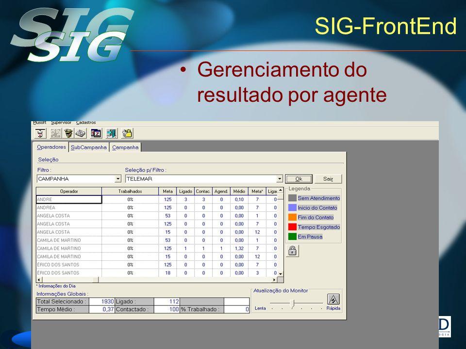 Versão 6 SIG-FrontEnd Gerenciamento do resultado por agente