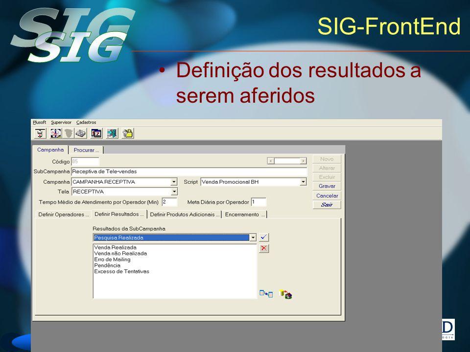 Versão 6 SIG-FrontEnd Definição dos resultados a serem aferidos