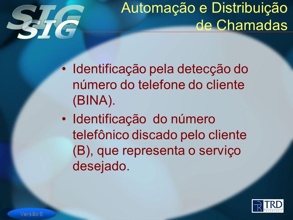 Versão 6 Automação e Distribuição de Chamadas Identificação pela detecção do número do telefone do cliente (BINA). Identificação do número telefônico