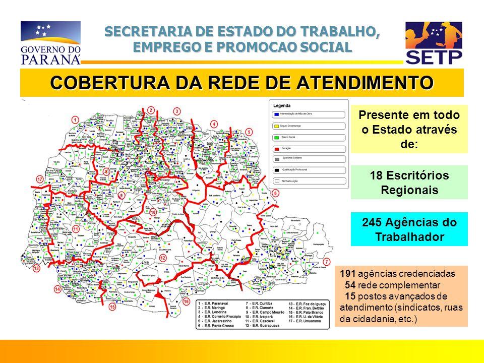 SECRETARIA DE ESTADO DO TRABALHO, EMPREGO E PROMOCAO SOCIAL COBERTURA DA REDE DE ATENDIMENTO Presente em todo o Estado através de: 18 Escritórios Regi