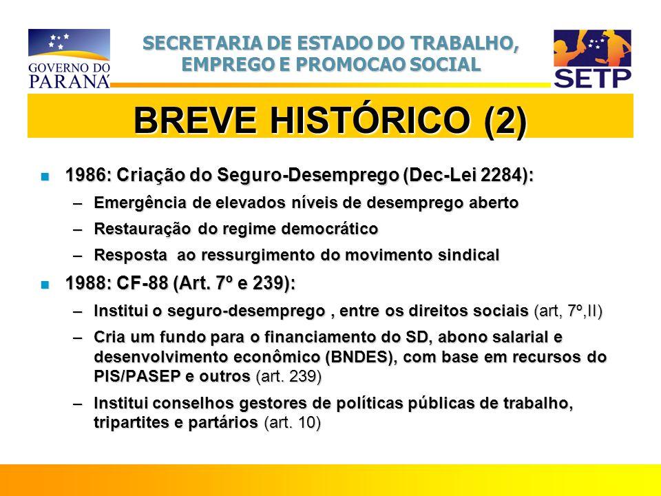 SECRETARIA DE ESTADO DO TRABALHO, EMPREGO E PROMOCAO SOCIAL BREVE HISTÓRICO (2) n 1986: Criação do Seguro-Desemprego (Dec-Lei 2284): –Emergência de el