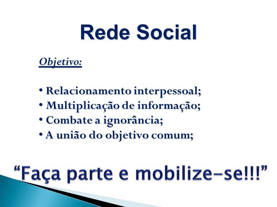 Objetivo: Relacionamento interpessoal; Relacionamento interpessoal; Multiplicação de informação; Multiplicação de informação; Combate a ignorância; Combate a ignorância; A união do objetivo comum; A união do objetivo comum; Rede Social