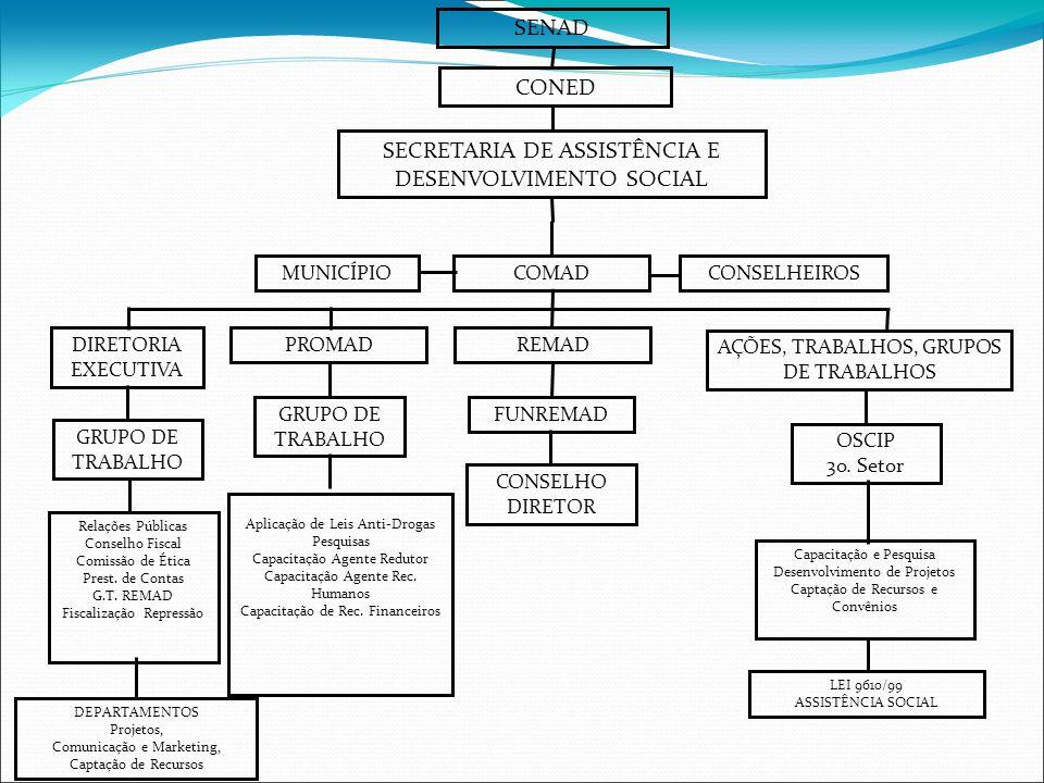 SENAD CONED SECRETARIA DE ASSISTÊNCIA E DESENVOLVIMENTO SOCIAL MUNICÍPIOCOMADCONSELHEIROS FUNREMAD CONSELHO DIRETOR REMAD GRUPO DE TRABALHO PROMAD Aplicação de Leis Anti-Drogas Pesquisas Capacitação Agente Redutor Capacitação Agente Rec.