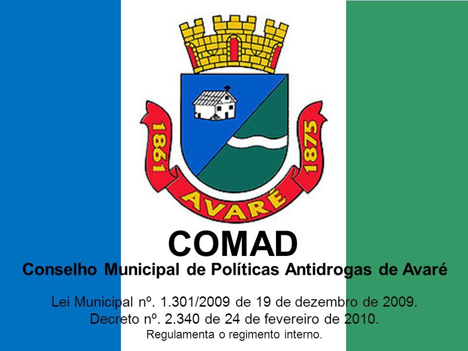 COMAD Conselho Municipal de Políticas Antidrogas de Avaré Lei Municipal nº.
