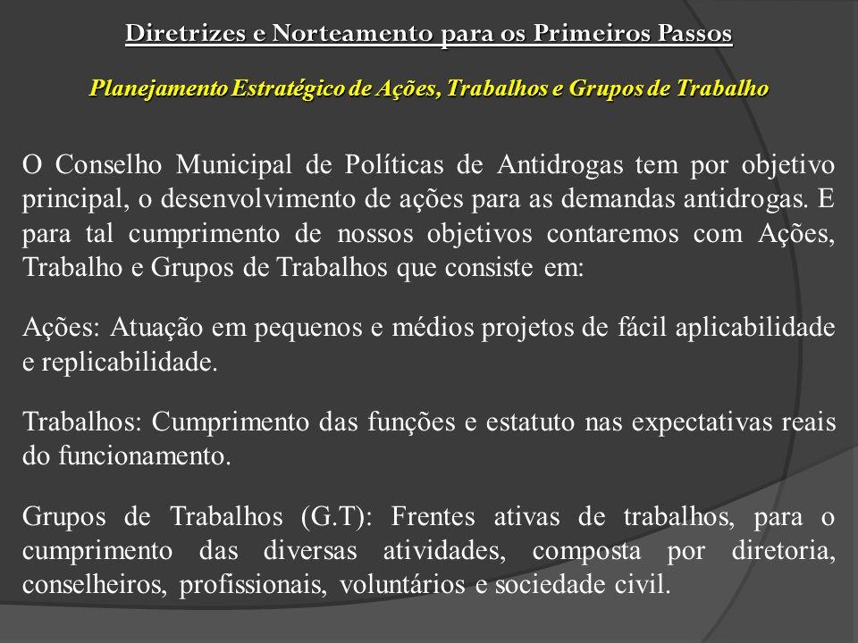 O Conselho Municipal de Políticas de Antidrogas tem por objetivo principal, o desenvolvimento de ações para as demandas antidrogas.