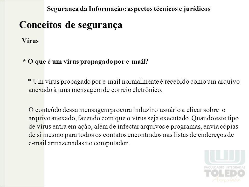 Segurança da Informação: aspectos técnicos e jurídicos Conceitos de segurança Vírus * O que é um vírus propagado por e-mail? * Um vírus propagado por