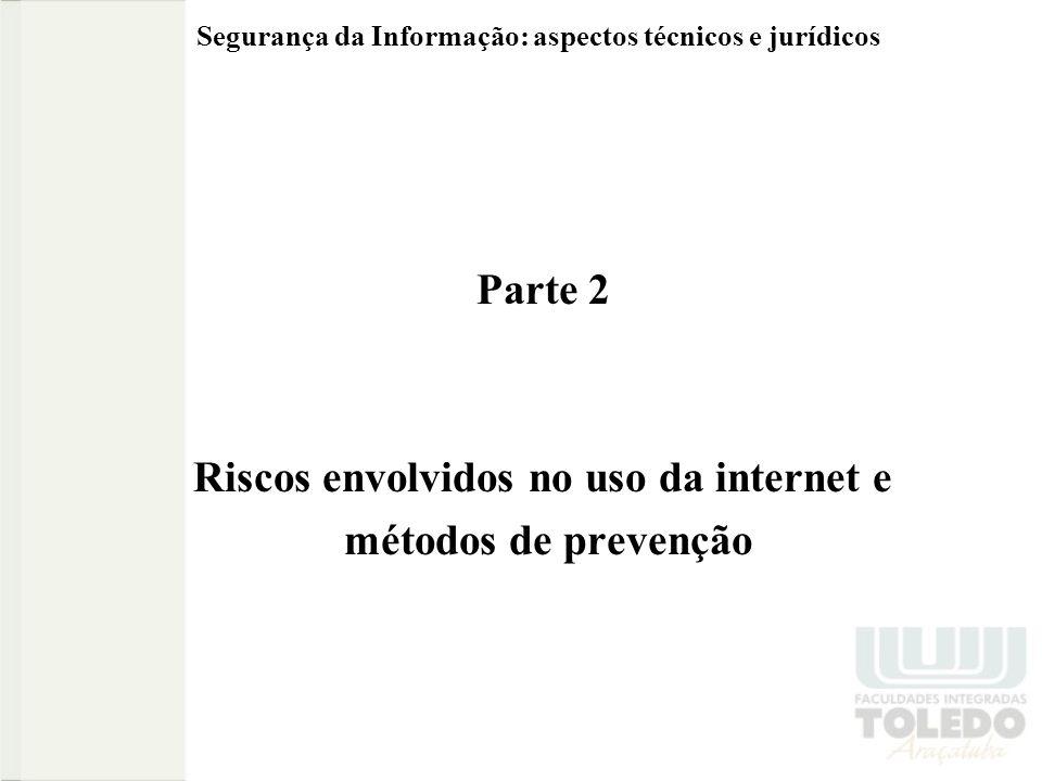 Segurança da Informação: aspectos técnicos e jurídicos Parte 2 Riscos envolvidos no uso da internet e métodos de prevenção