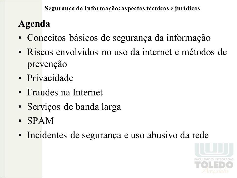 Segurança da Informação: aspectos técnicos e jurídicos Agenda Conceitos básicos de segurança da informação Riscos envolvidos no uso da internet e métodos de prevenção Privacidade Fraudes na Internet Serviços de banda larga SPAM Incidentes de segurança e uso abusivo da rede