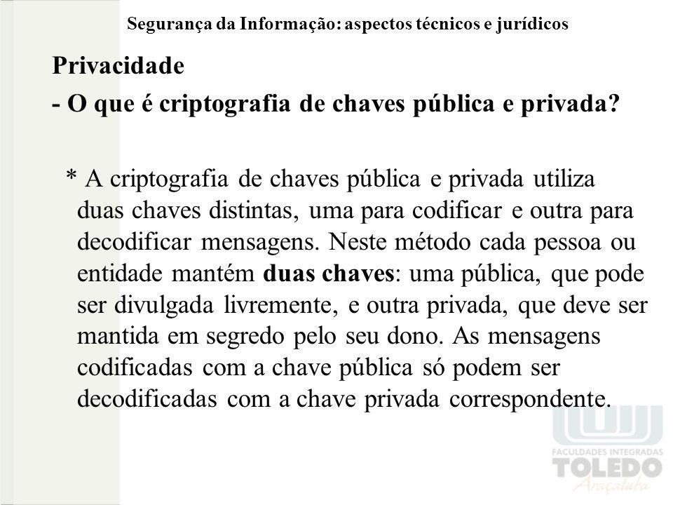 Segurança da Informação: aspectos técnicos e jurídicos Privacidade - O que é criptografia de chaves pública e privada? * A criptografia de chaves públ