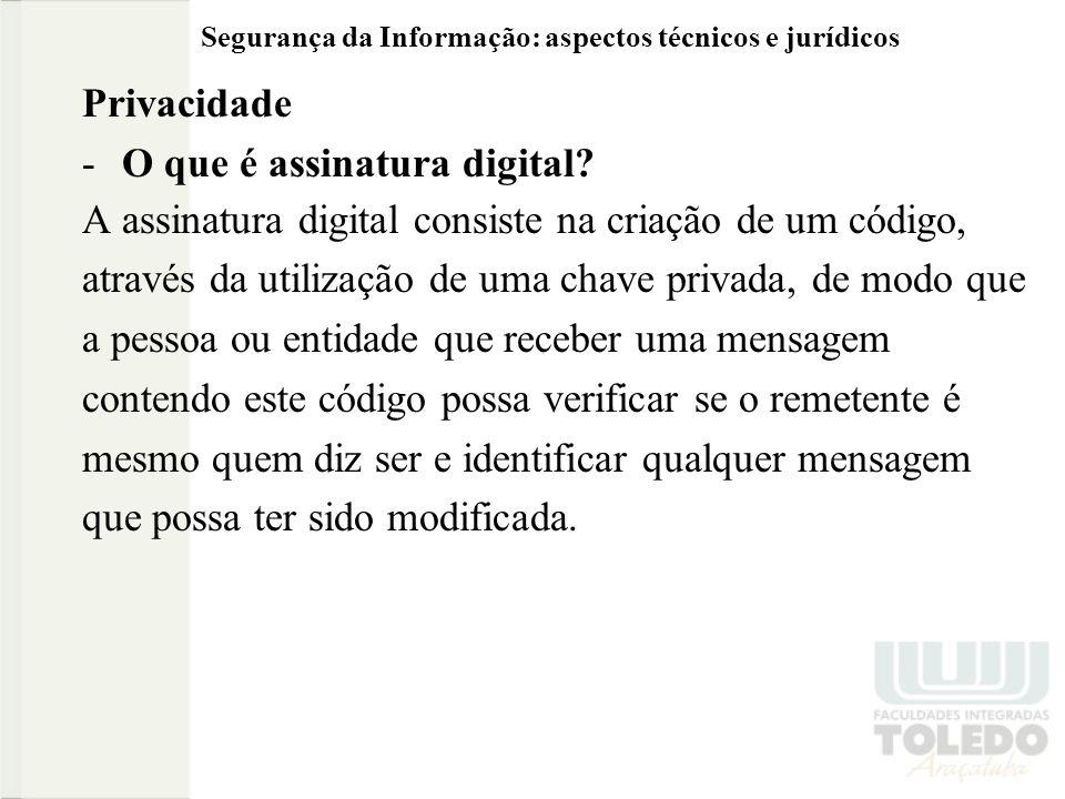 Segurança da Informação: aspectos técnicos e jurídicos Privacidade -O que é assinatura digital.