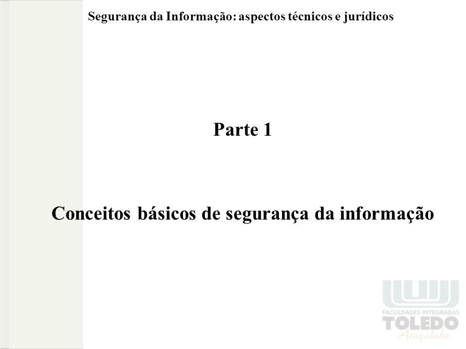 Segurança da Informação: aspectos técnicos e jurídicos Segurança da informação Um computador (ou sistema computacional) é dito seguro se este atende a 3 requisitos básicos: confidencialidade, integridade e disponibilidade da informação.