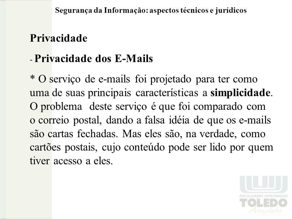 Privacidade - Privacidade dos E-Mails * O serviço de e-mails foi projetado para ter como uma de suas principais características a simplicidade. O prob
