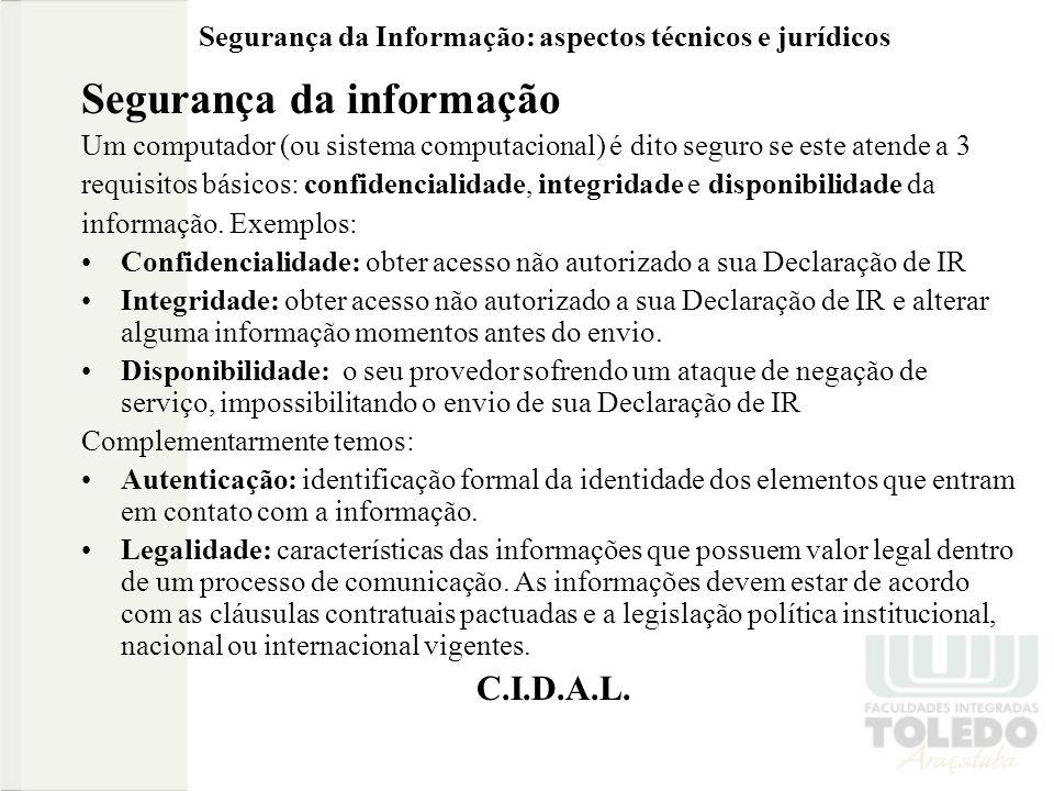 Segurança da Informação: aspectos técnicos e jurídicos Parte 3 Privacidade