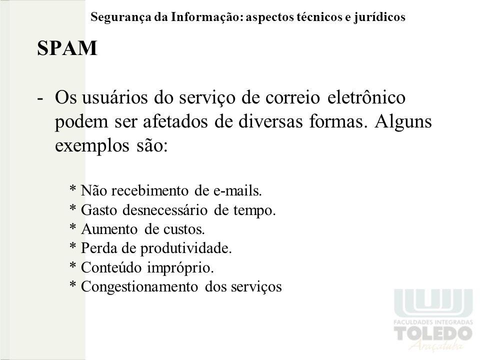 Segurança da Informação: aspectos técnicos e jurídicos SPAM -Os usuários do serviço de correio eletrônico podem ser afetados de diversas formas. Algun