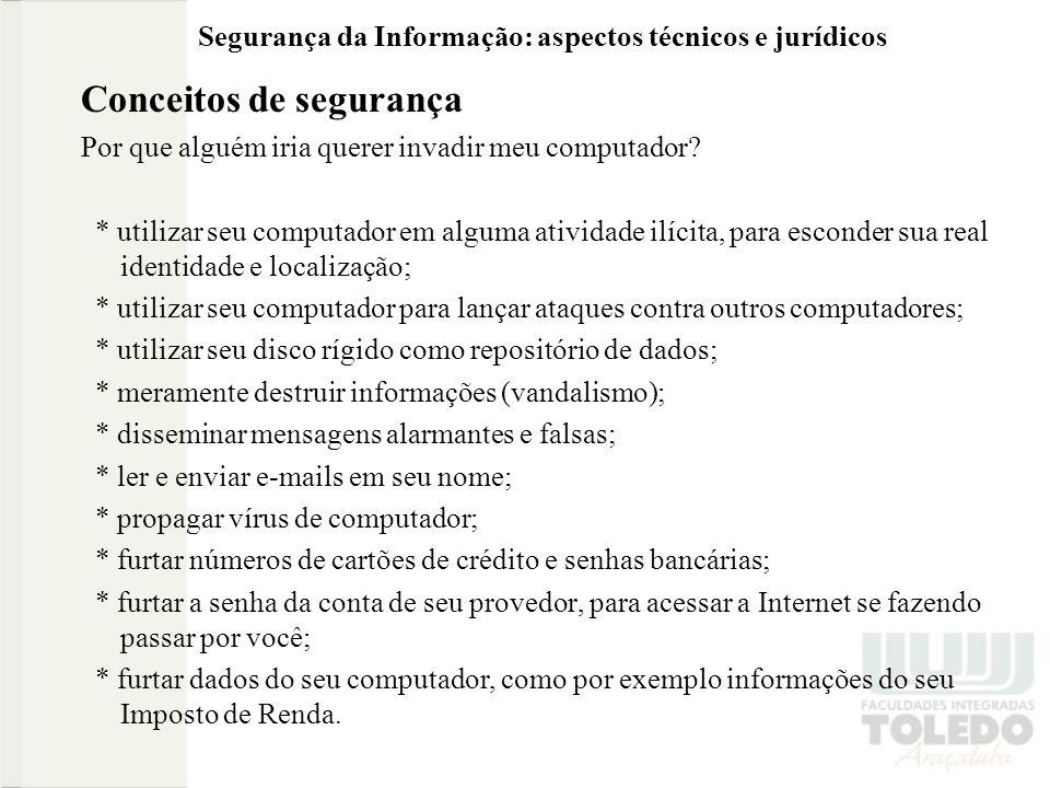 Segurança da Informação: aspectos técnicos e jurídicos Conceitos de segurança Como elaborar uma boa senha.
