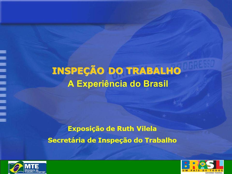 INSPEÇÃO DO TRABALHO A Experiência do Brasil Exposição de Ruth Vilela Secretária de Inspeção do Trabalho