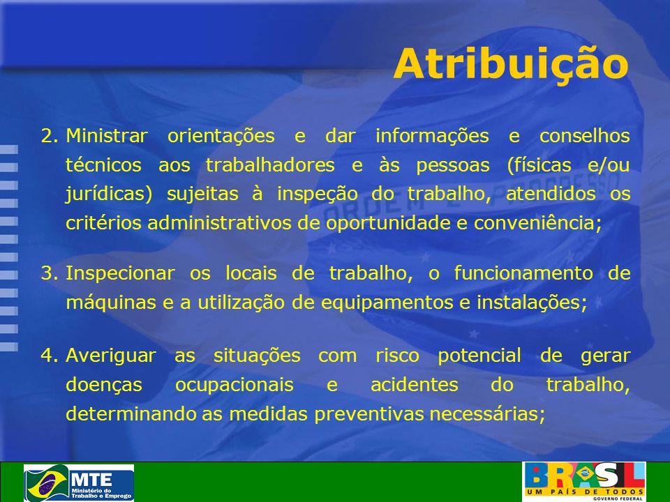 Atribuição 2.Ministrar orientações e dar informações e conselhos técnicos aos trabalhadores e às pessoas (físicas e/ou jurídicas) sujeitas à inspeção