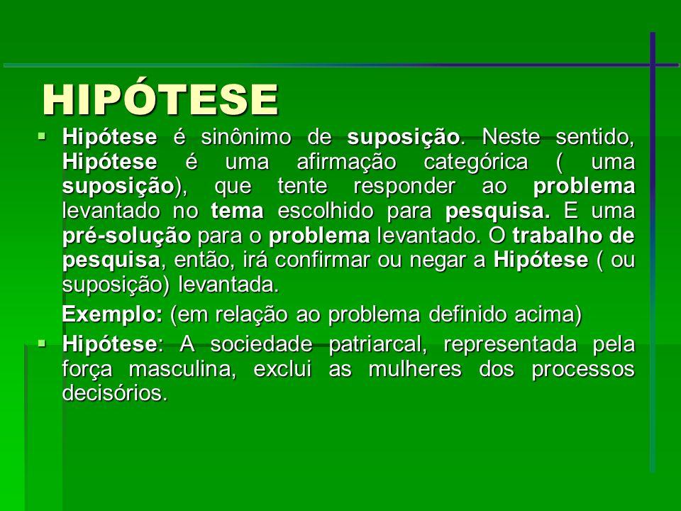 HIPÓTESE Hipótese é sinônimo de suposição. Neste sentido, Hipótese é uma afirmação categórica ( uma suposição), que tente responder ao problema levant
