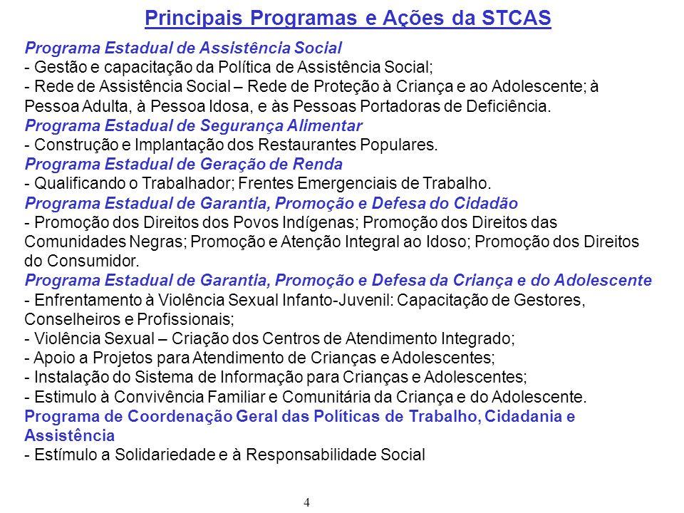 Principais Programas e Ações da STCAS Programa Estadual de Assistência Social - Gestão e capacitação da Política de Assistência Social; - Rede de Assi