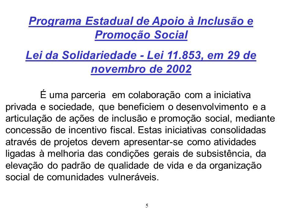 5 Programa Estadual de Apoio à Inclusão e Promoção Social Lei da Solidariedade - Lei 11.853, em 29 de novembro de 2002 É uma parceria em colaboração c