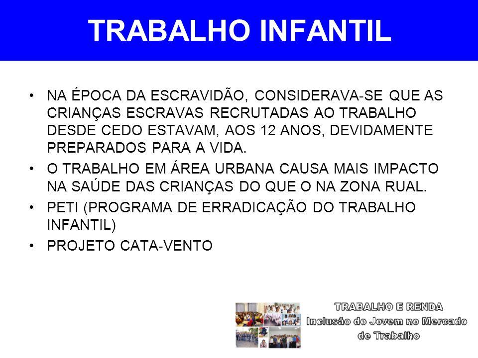 TRABALHO INFANTIL NA ÉPOCA DA ESCRAVIDÃO, CONSIDERAVA-SE QUE AS CRIANÇAS ESCRAVAS RECRUTADAS AO TRABALHO DESDE CEDO ESTAVAM, AOS 12 ANOS, DEVIDAMENTE