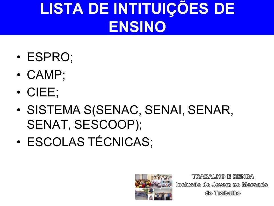 LISTA DE INTITUIÇÕES DE ENSINO ESPRO; CAMP; CIEE; SISTEMA S(SENAC, SENAI, SENAR, SENAT, SESCOOP); ESCOLAS TÉCNICAS;