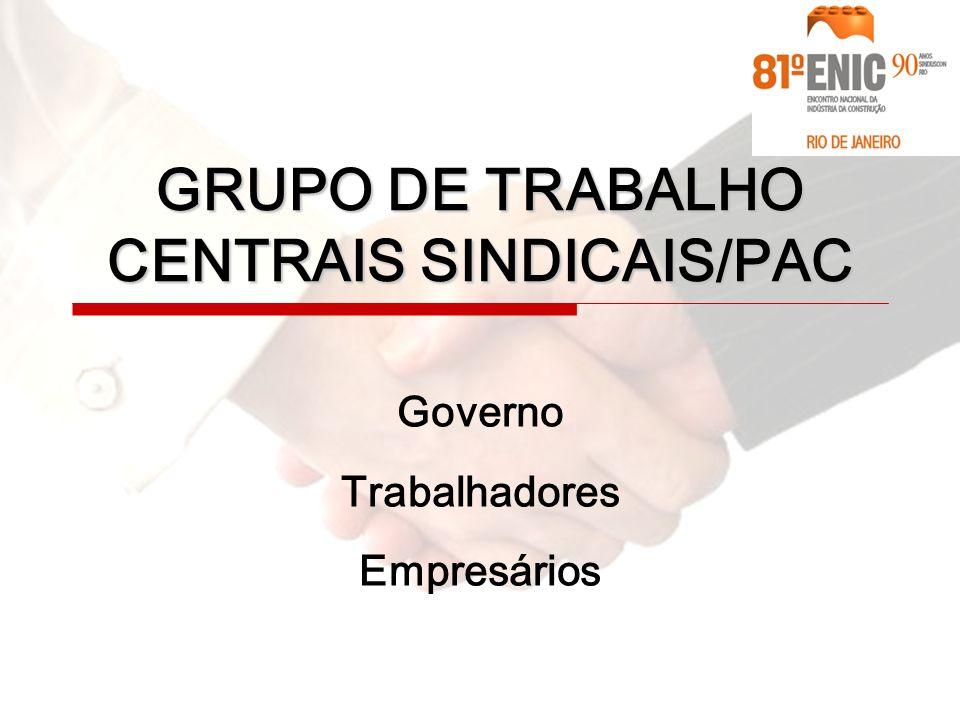 Governo Trabalhadores Empresários GRUPO DE TRABALHO CENTRAIS SINDICAIS/PAC