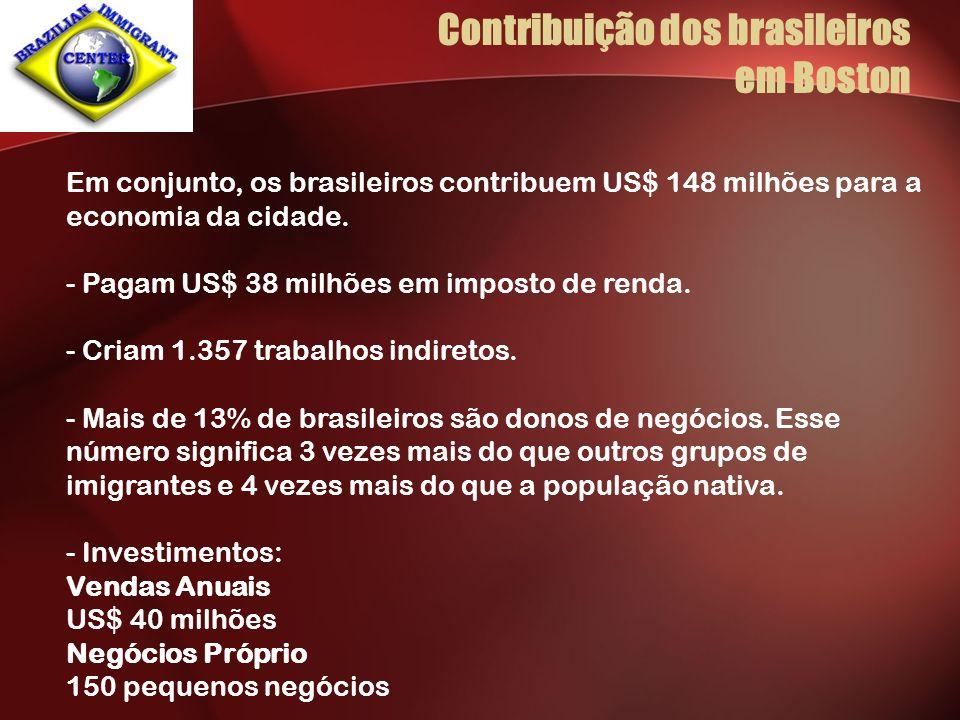 Em conjunto, os brasileiros contribuem US$ 148 milhões para a economia da cidade. - Pagam US$ 38 milhões em imposto de renda. - Criam 1.357 trabalhos