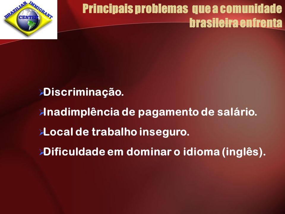 Principais problemas que a comunidade brasileira enfrenta Discriminação. Inadimplência de pagamento de salário. Local de trabalho inseguro. Dificuldad