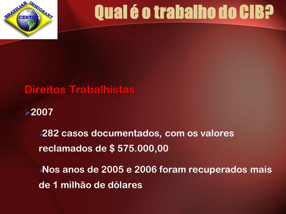 Qual é o trabalho do CIB? Direitos Trabalhistas 2007 282 casos documentados, com os valores reclamados de $ 575.000,00 Nos anos de 2005 e 2006 foram r