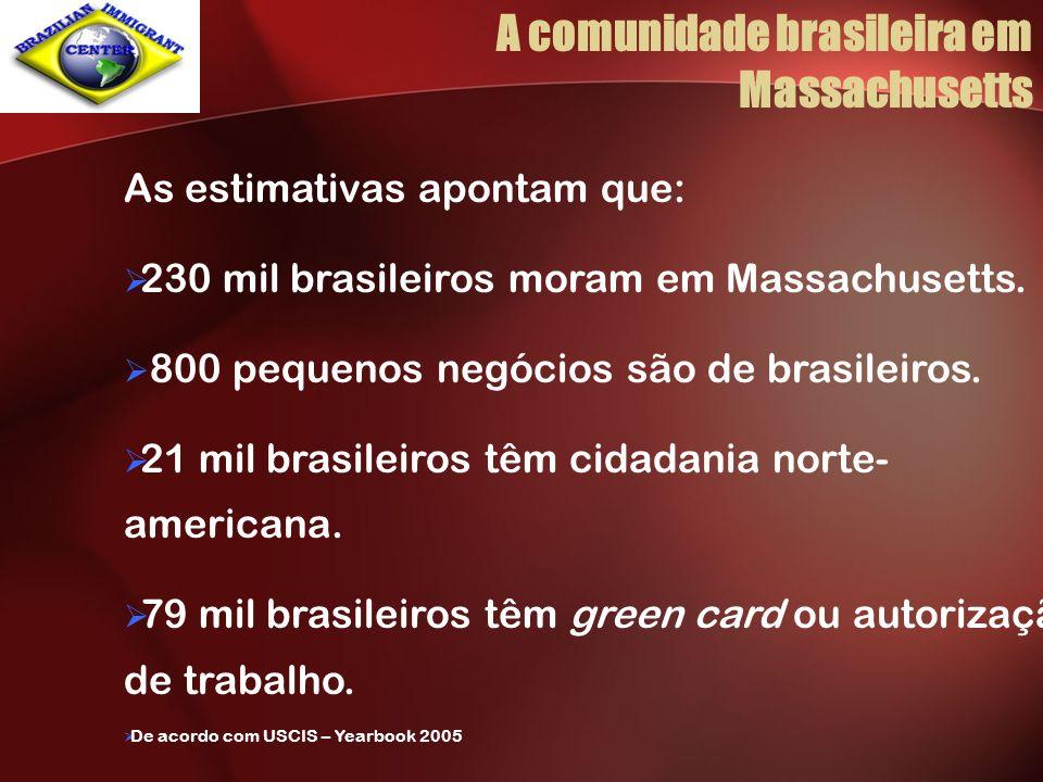 As estimativas apontam que: 230 mil brasileiros moram em Massachusetts. 800 pequenos negócios são de brasileiros. 21 mil brasileiros têm cidadania nor