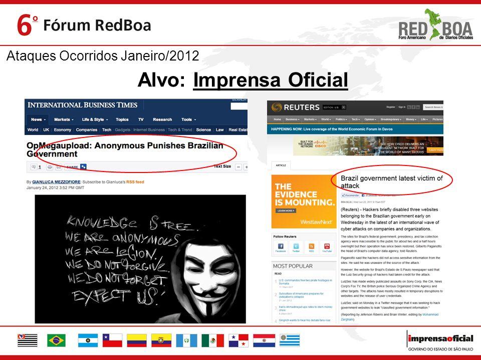 Ataques Ocorridos Janeiro/2012 Alvo: Imprensa Oficial