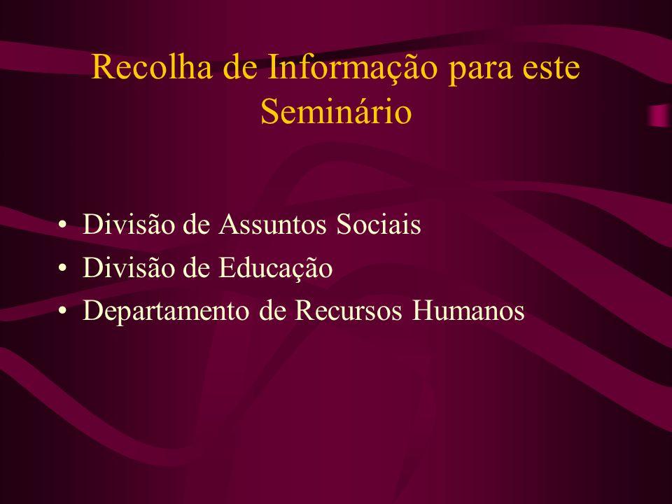 Recolha de Informação para este Seminário Divisão de Assuntos Sociais Divisão de Educação Departamento de Recursos Humanos