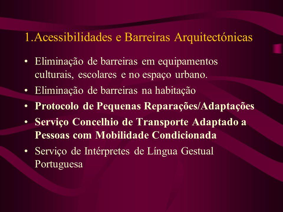 1.Acessibilidades e Barreiras Arquitectónicas Eliminação de barreiras em equipamentos culturais, escolares e no espaço urbano.