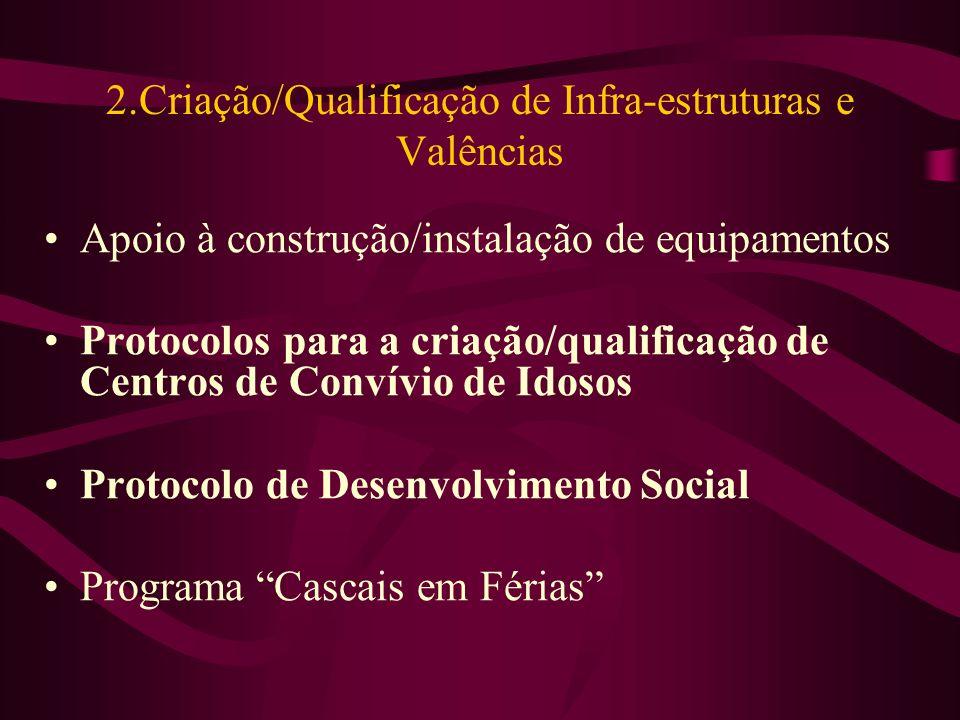 2.Criação/Qualificação de Infra-estruturas e Valências Apoio à construção/instalação de equipamentos Protocolos para a criação/qualificação de Centros de Convívio de Idosos Protocolo de Desenvolvimento Social Programa Cascais em Férias
