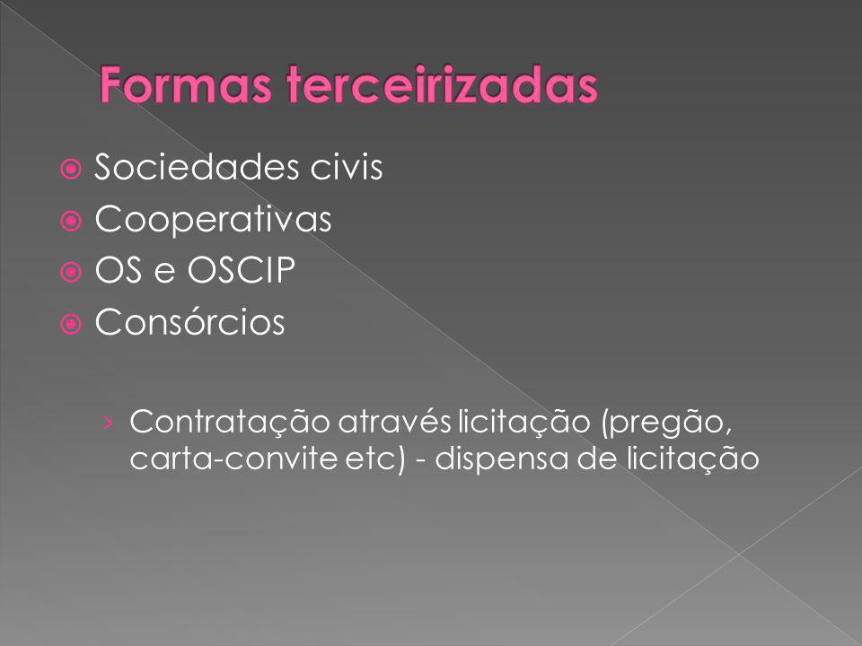Sociedades civis Cooperativas OS e OSCIP Consórcios Contratação através licitação (pregão, carta-convite etc) - dispensa de licitação