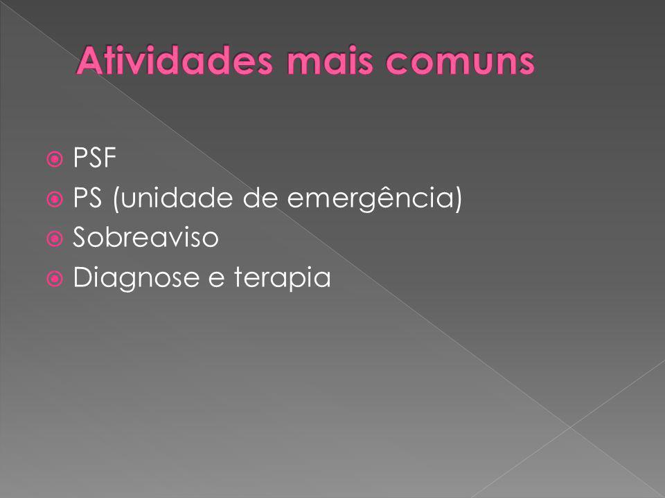 PSF PS (unidade de emergência) Sobreaviso Diagnose e terapia