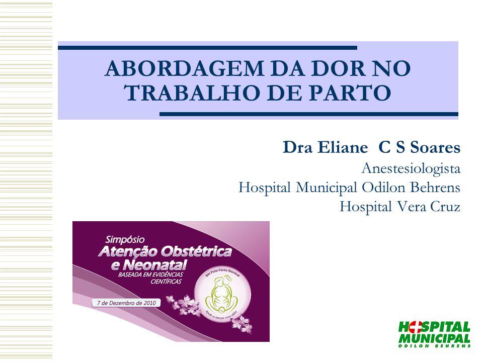 ABORDAGEM DA DOR NO TRABALHO DE PARTO Dra Eliane C S Soares Anestesiologista Hospital Municipal Odilon Behrens Hospital Vera Cruz