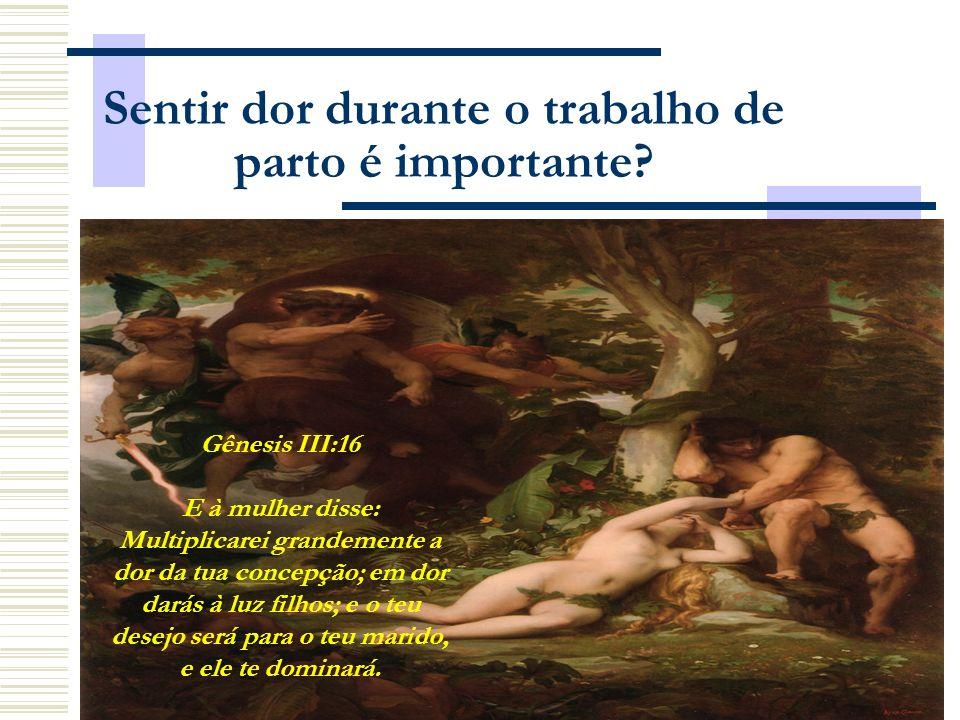 Sentir dor durante o trabalho de parto é importante? Gênesis III:16 E à mulher disse: Multiplicarei grandemente a dor da tua concepção; em dor darás à