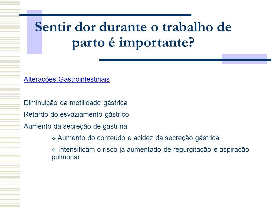 Alterações Gastrointestinais Diminuição da motilidade gástrica Retardo do esvaziamento gástrico Aumento da secreção de gastrina Aumento do conteúdo e