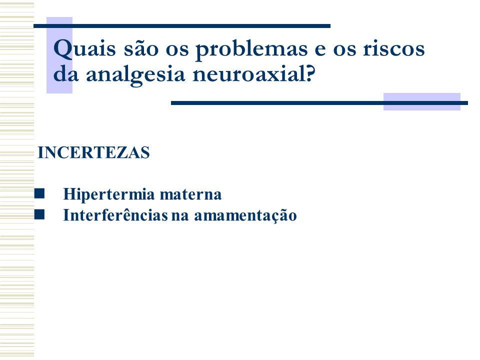 INCERTEZAS Hipertermia materna Interferências na amamentação Quais são os problemas e os riscos da analgesia neuroaxial?