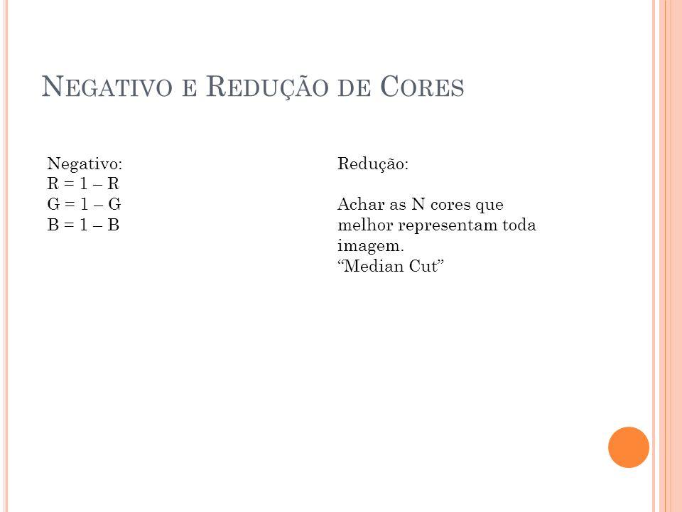 N EGATIVO E R EDUÇÃO DE C ORES Negativo: R = 1 – R G = 1 – G B = 1 – B Redução: Achar as N cores que melhor representam toda imagem. Median Cut