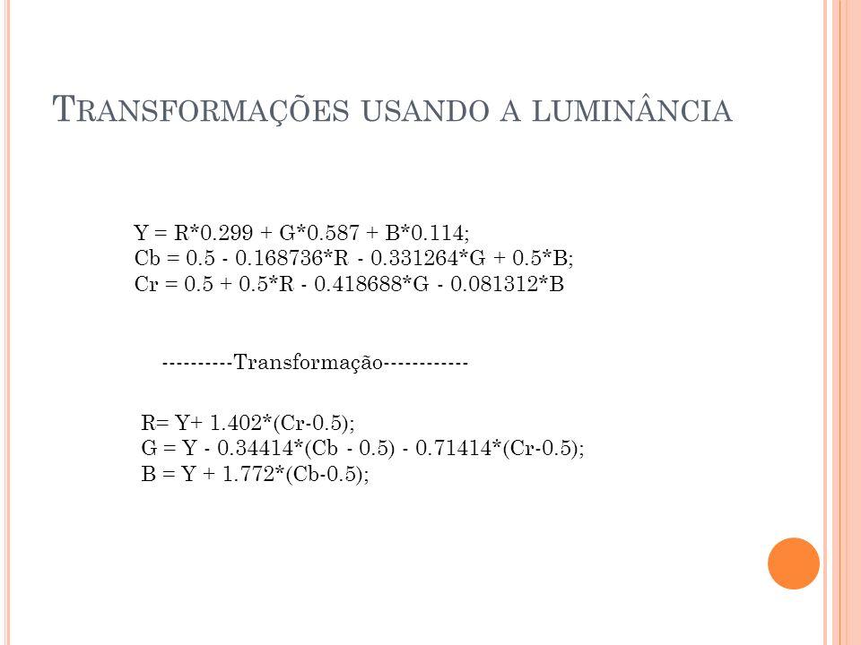 T RANSFORMAÇÕES USANDO A LUMINÂNCIA Tons de Cinza: R =Y G = Y B = Y Binarização: R =1 G = 1 se Y >= 0.5 B = 1 Ou R = 0 G = 0 se Y < 0.5 B = 0 Correção Gamma: Y = Y^(1/Gamma)