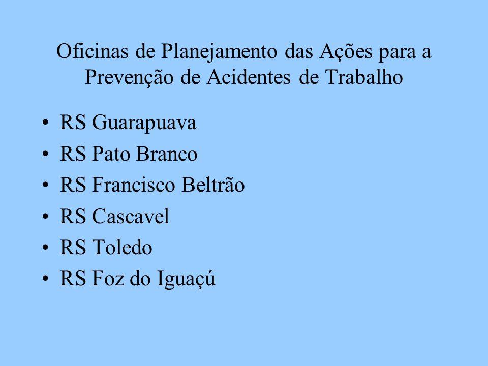 Oficinas de Planejamento das Ações para a Prevenção de Acidentes de Trabalho RS Guarapuava RS Pato Branco RS Francisco Beltrão RS Cascavel RS Toledo RS Foz do Iguaçú
